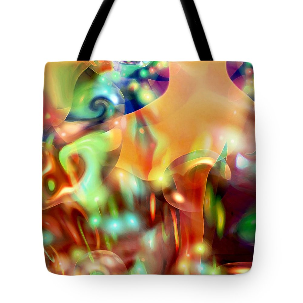 Abstract Art Tote Bag featuring the digital art Psychedelic Xperiment by Linda Sannuti