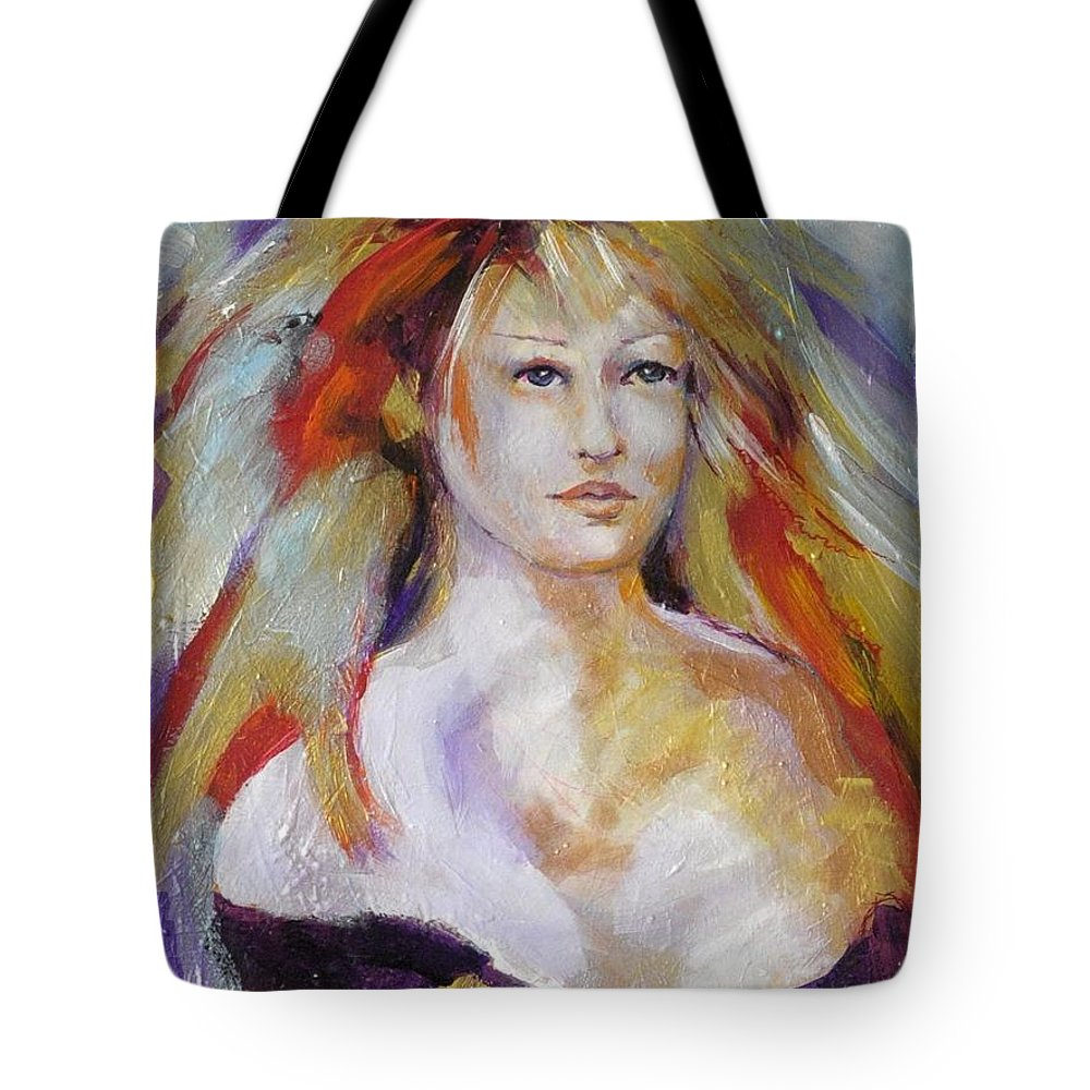 Spritual Tote Bag featuring the painting Psychic Deva by Michael Clifford Shpack