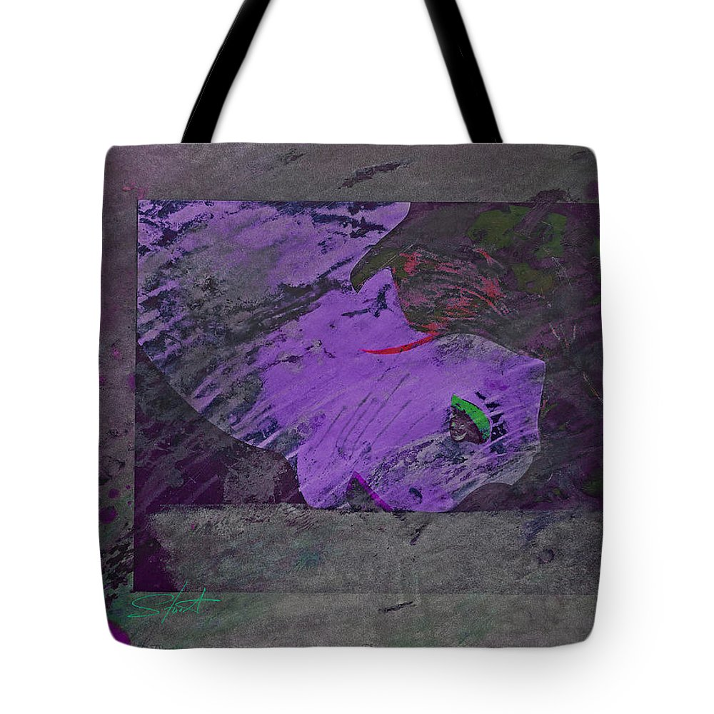 Psycho Tote Bag featuring the mixed media Psycho Warhol Deep Purple by Charles Stuart