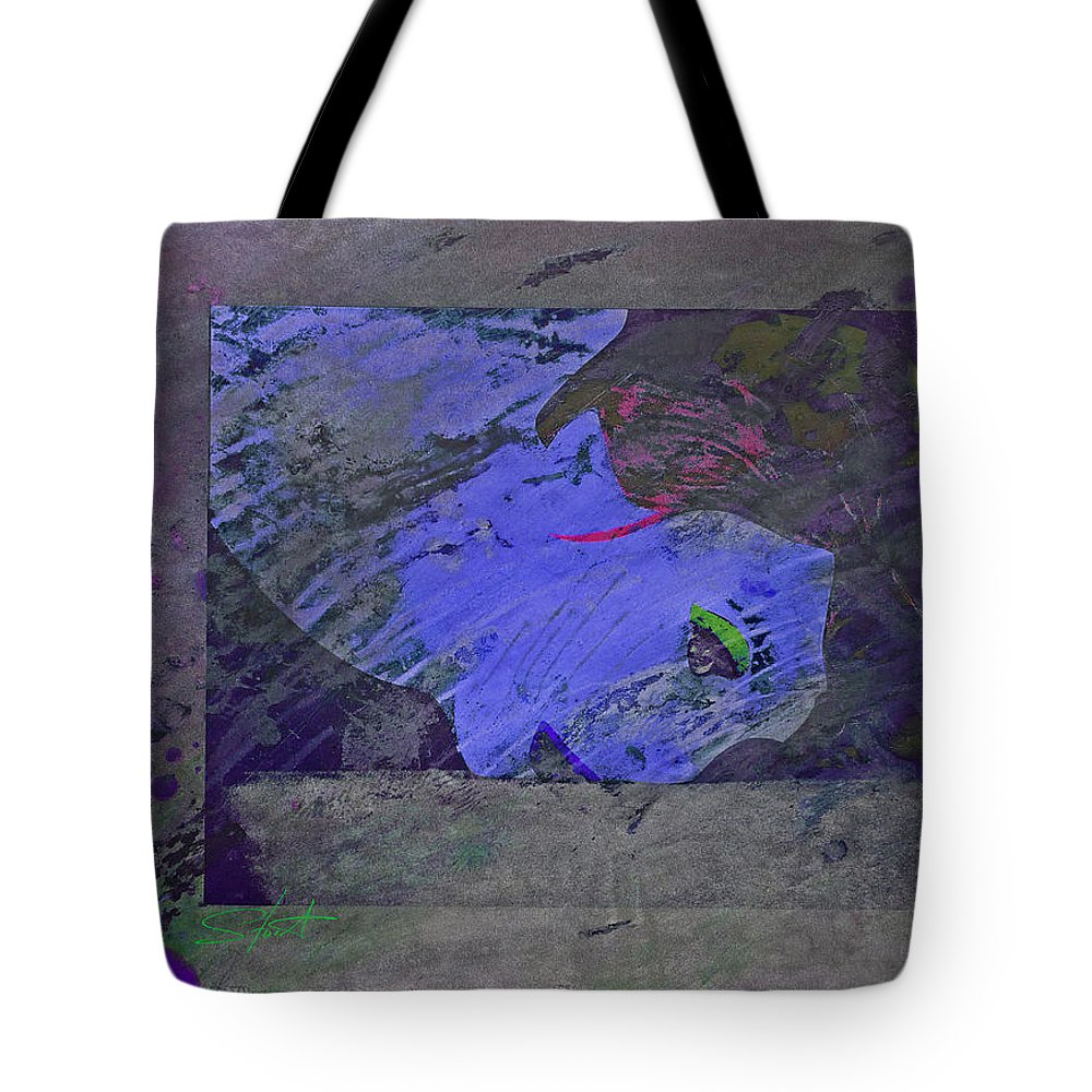 Psycho Tote Bag featuring the mixed media Psychowarhol Blue by Charles Stuart