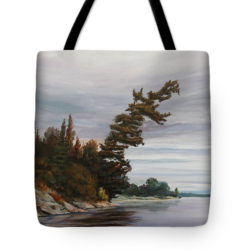 Landscape Tote Bag featuring the painting Ptarmigan Bay by Ruth Kamenev
