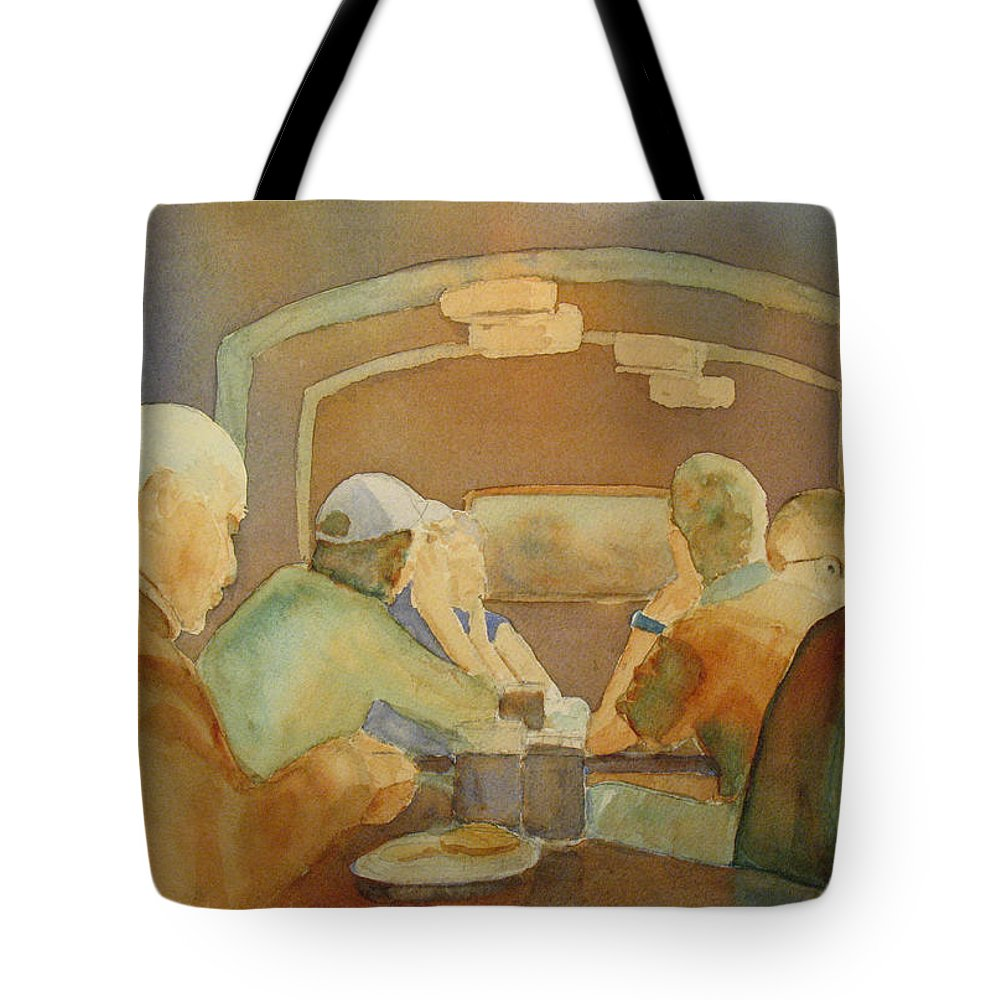 Men Tote Bag featuring the painting Pub Talk II by Jenny Armitage