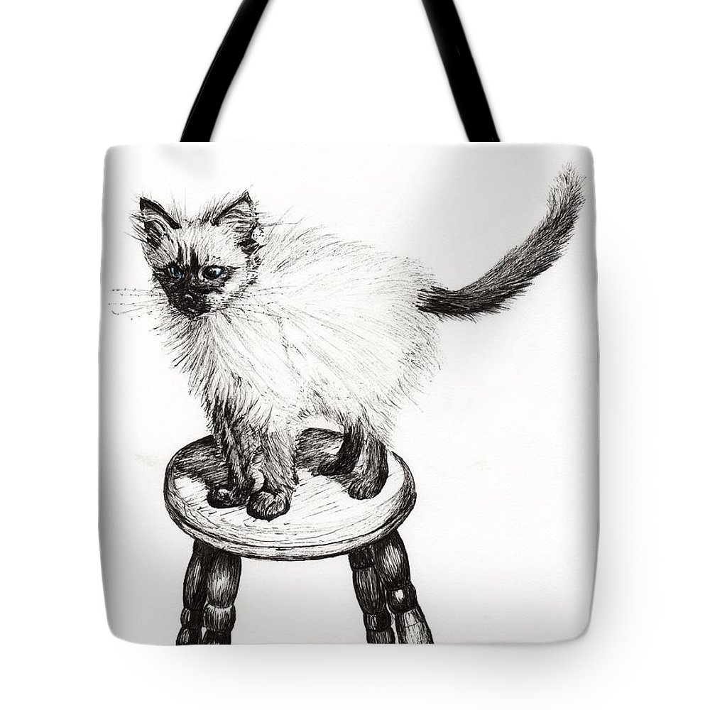 Stool Tote Bag featuring the drawing Pudsquiz Belina by Vincent Alexander Booth