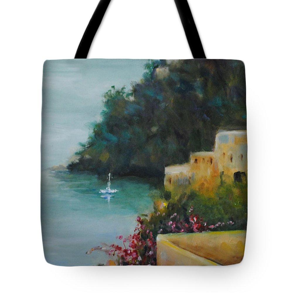 Pueblo Tote Bag featuring the painting Pueblo Bay by Linda Hiller