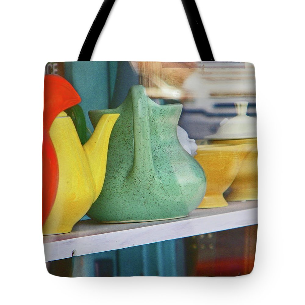 Abstract Tote Bag featuring the photograph Pueblo Downtown Collectibles 2 by Lenore Senior
