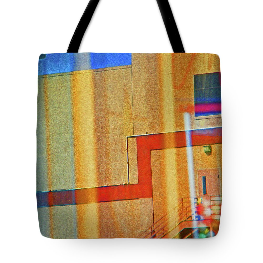 Abstract Tote Bag featuring the photograph Pueblo Downtown Reflection 2 by Lenore Senior