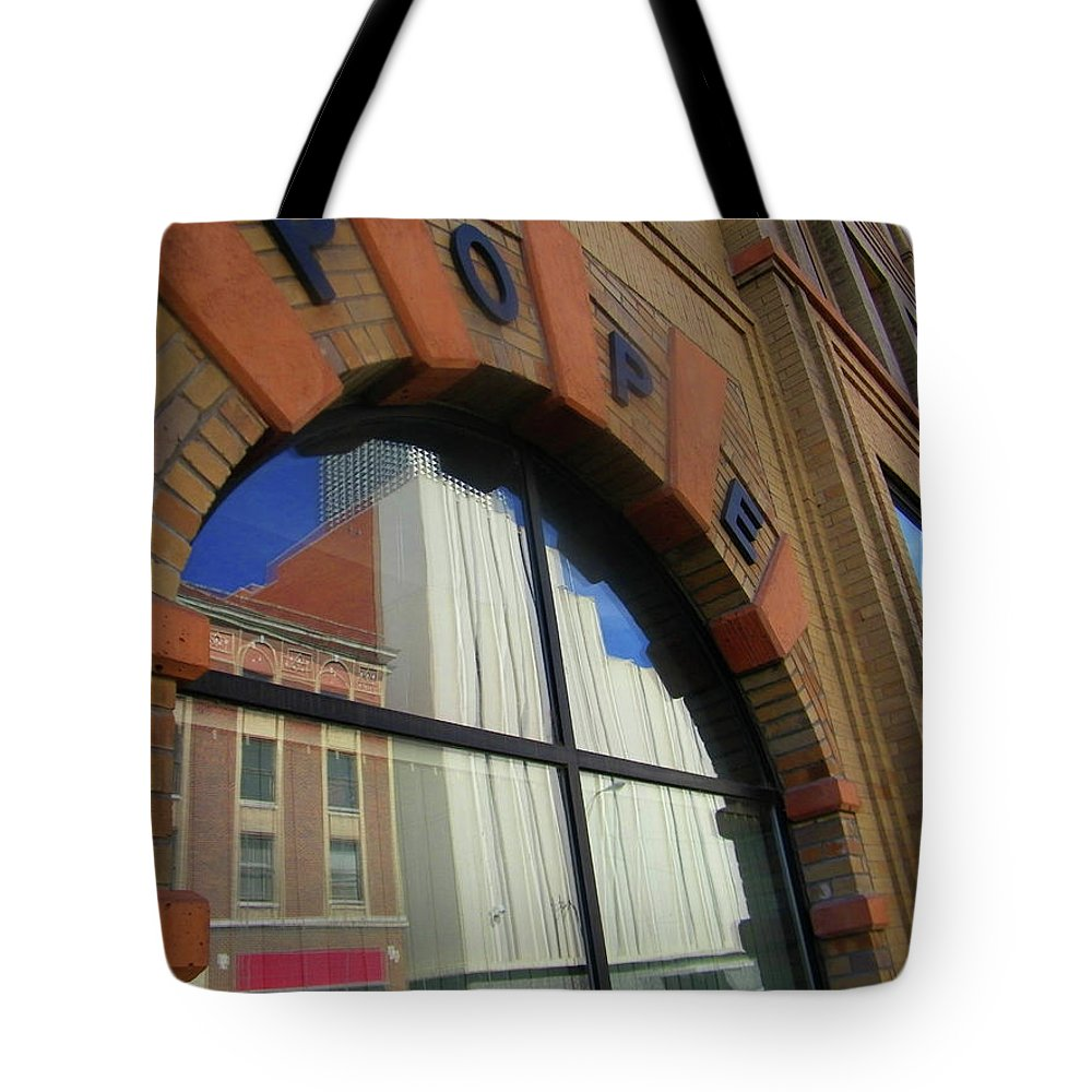 Abstract Tote Bag featuring the photograph Pueblo Downtown Reflection 3 by Lenore Senior