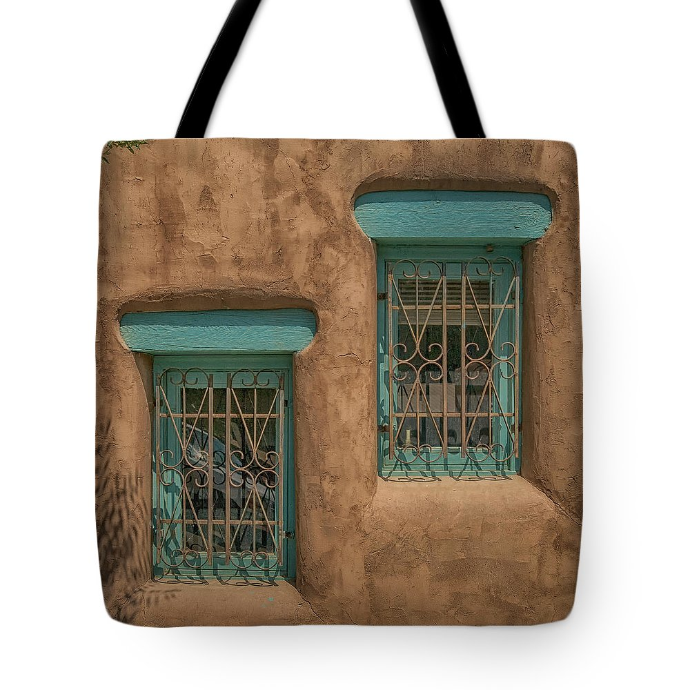 Pueblo Tote Bag featuring the photograph Pueblo Windows Nm Square Img_8336 by Greg Kluempers