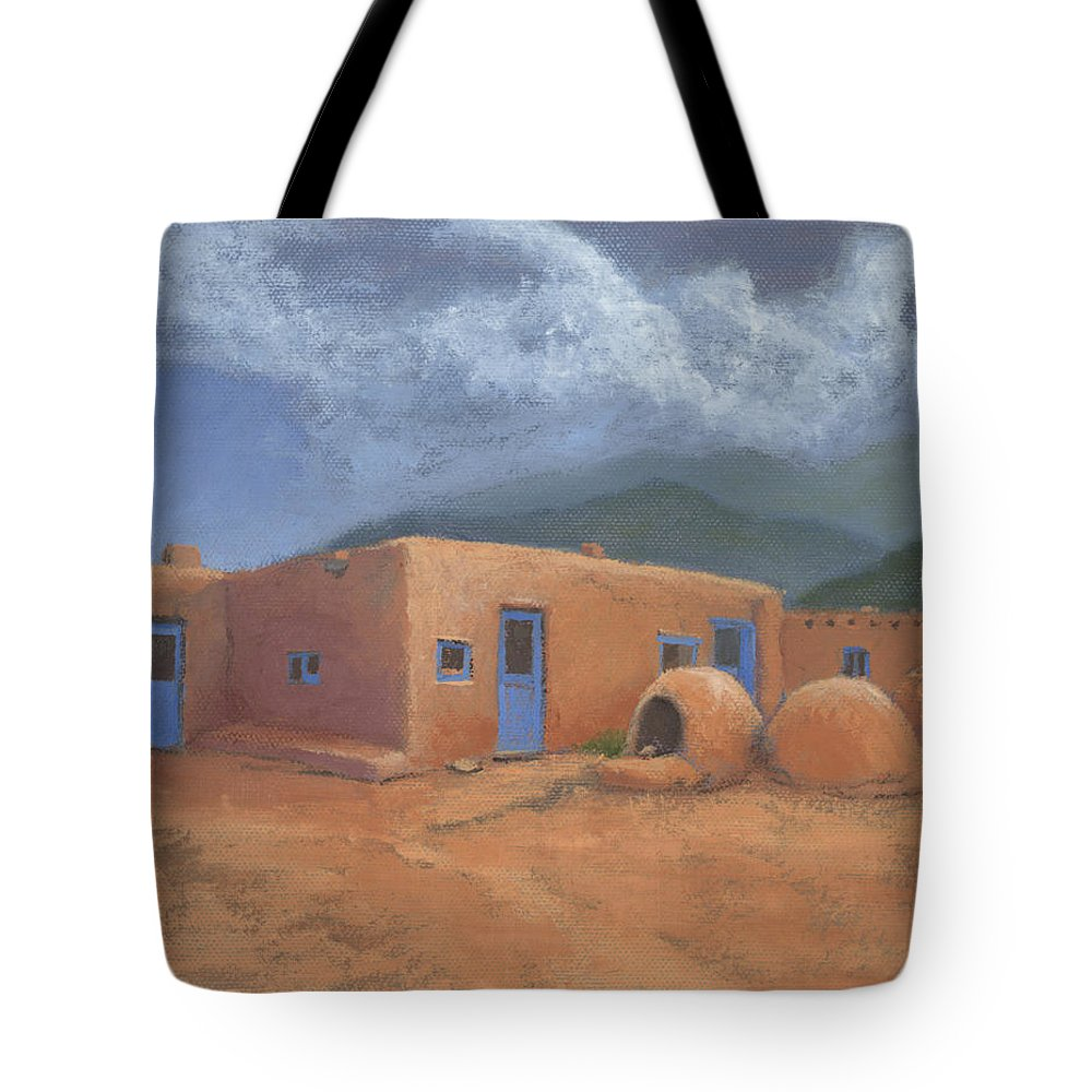 Taos Tote Bag featuring the painting Puertas Azul by Jerry McElroy