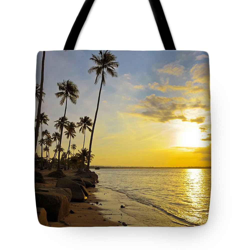 Beach Tote Bag featuring the photograph Puerto Rico Sunset by Stephen Anderson