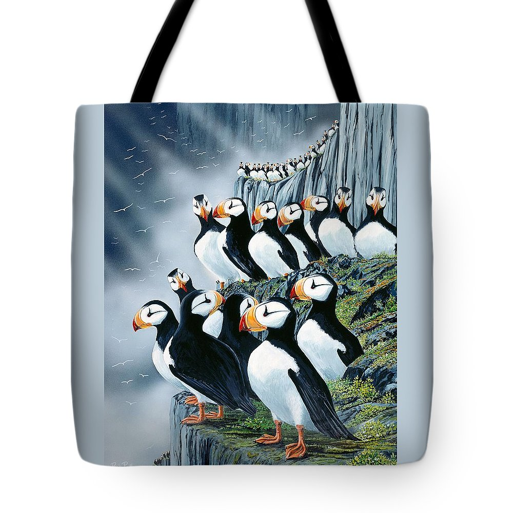 Puffin Birds Tote Bag featuring the painting Puffin College by Bob Patterson