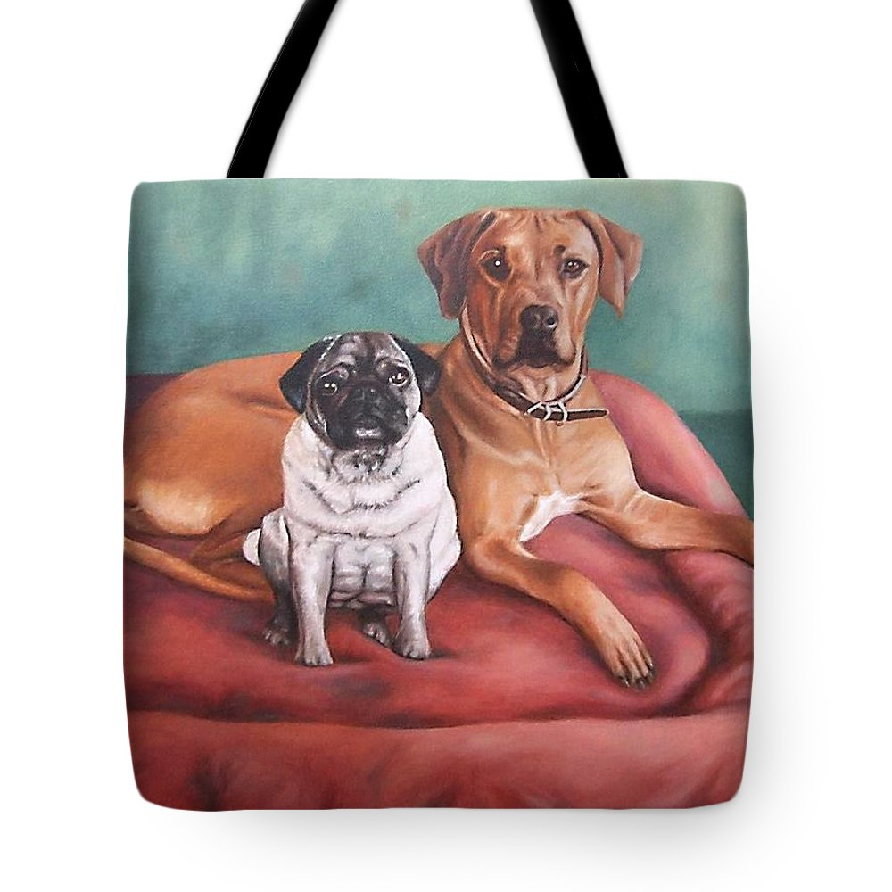 Dogs Tote Bag featuring the painting Pug And Rhodesian Ridgeback by Nicole Zeug