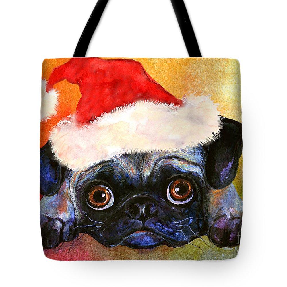 Pug Portrait Tote Bag featuring the painting Pug Santa Portrait by Svetlana Novikova