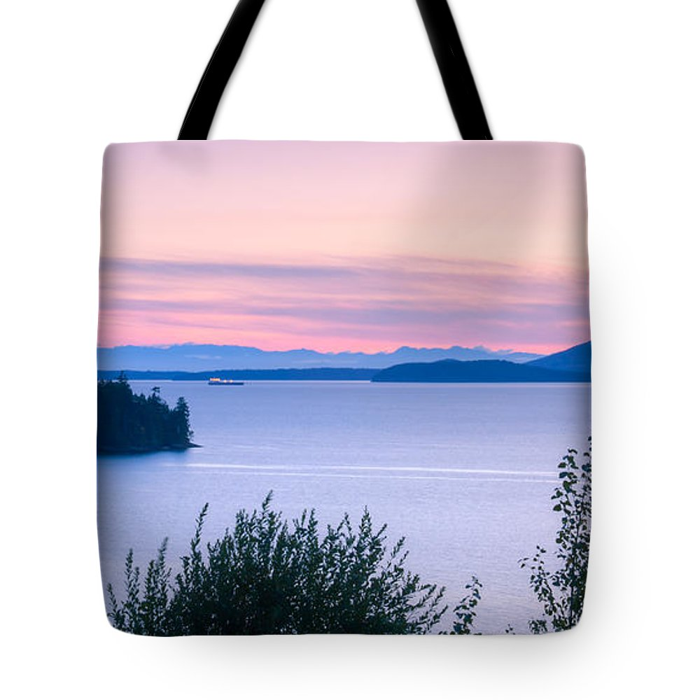 Pink Tote Bag featuring the photograph Puget Sound Twilight by Idaho Scenic Images Linda Lantzy