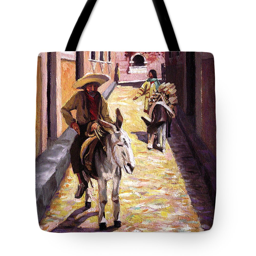 Impressionism Tote Bag featuring the painting Pulling Up The Rear In Mexico by Nancy Griswold