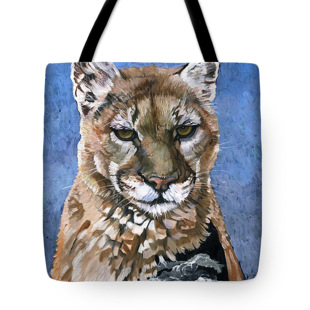 Puma Tote Bag featuring the painting Puma - The Hunter by J W Baker