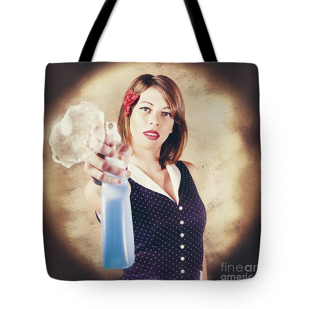 Cleaner Tote Bag featuring the photograph Pump Action Pin Up Woman Killing Glass Grime by Jorgo Photography - Wall Art Gallery