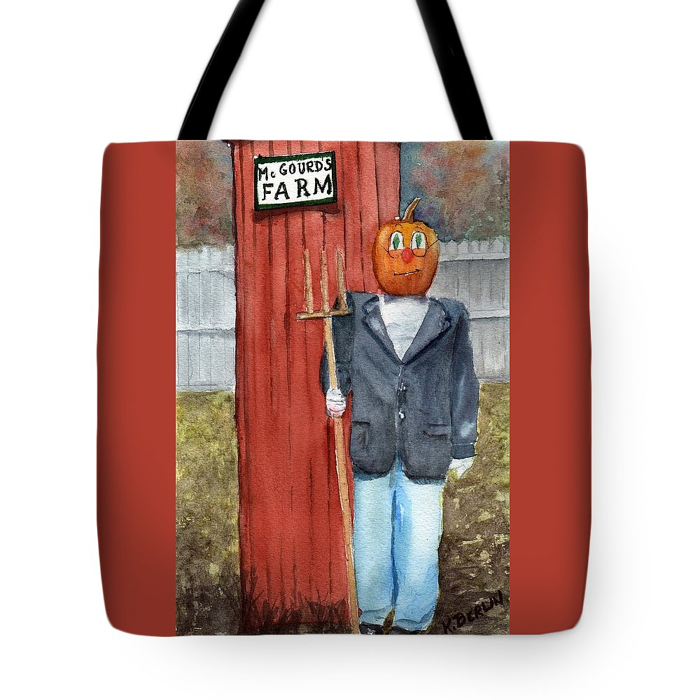 Farm Tote Bag featuring the painting Pumpkin Farmer by Katherine Berlin