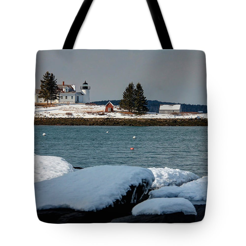 Lighthouse Tote Bag featuring the photograph Pumpkin Island Lighthouse by John Meader