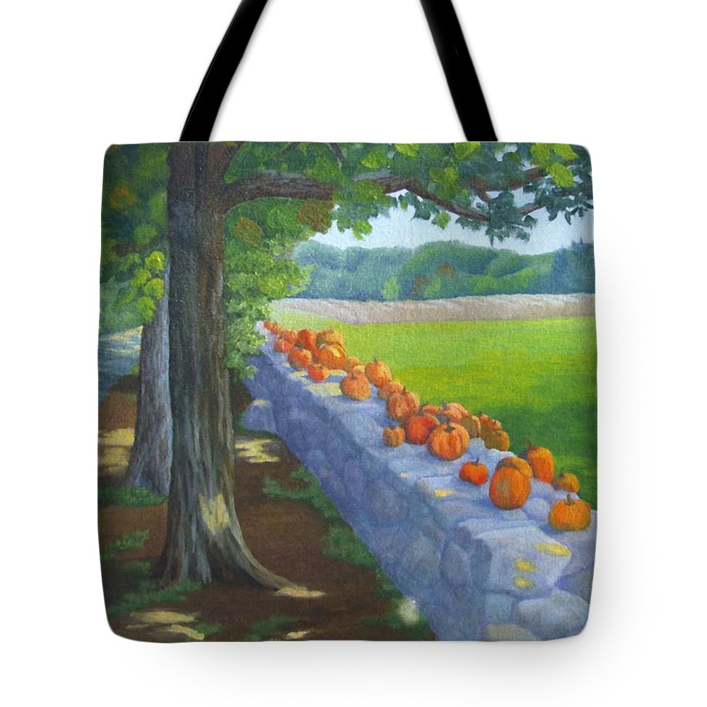 Pumpkins Tote Bag featuring the painting Pumpkin Muster by Sharon E Allen