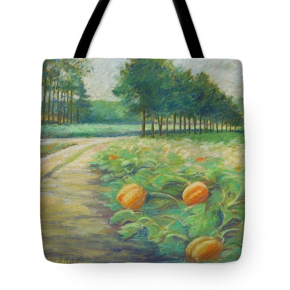Alfred Tote Bag featuring the pastel Pumpkin Patch by Leslie Alfred McGrath
