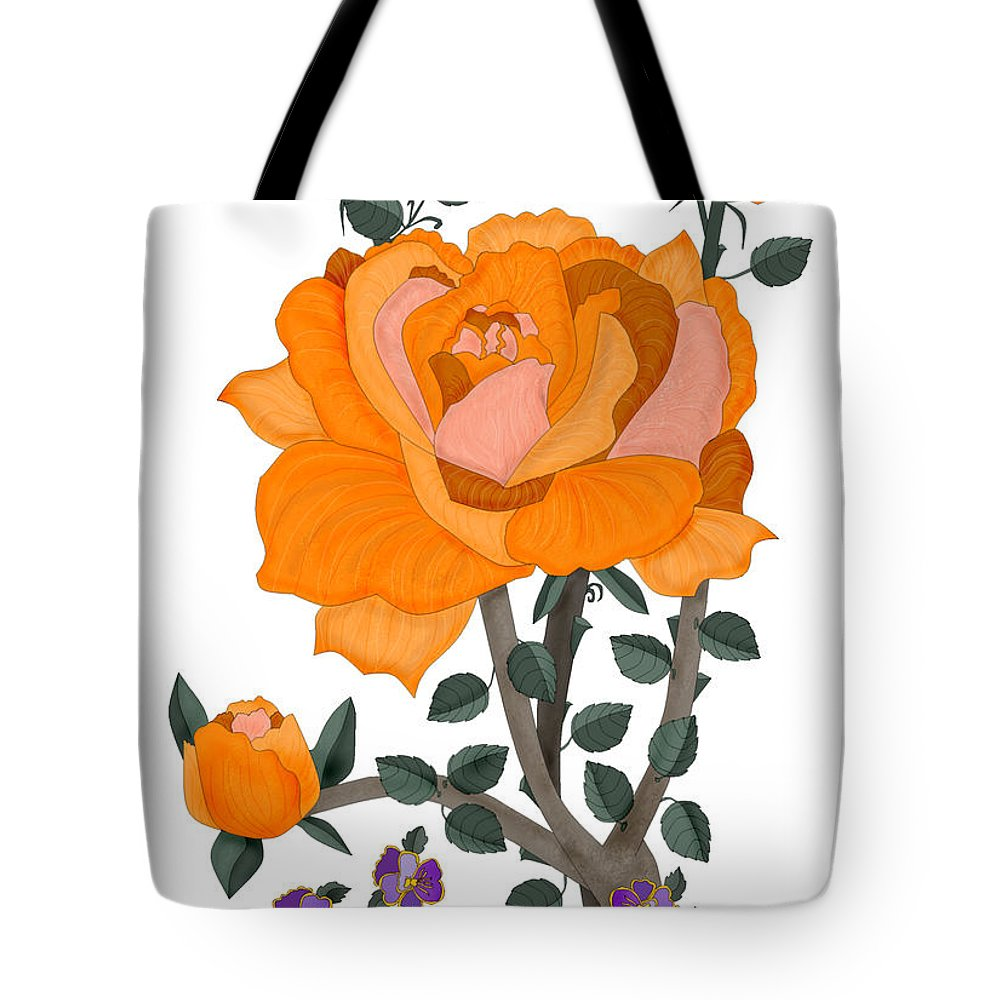 Orange Rose Tote Bag featuring the painting Pumpkin Rose And Violas by Anne Norskog