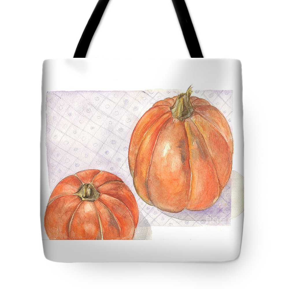 Harvest Tote Bag featuring the painting Pumpkin by Yana Sadykova