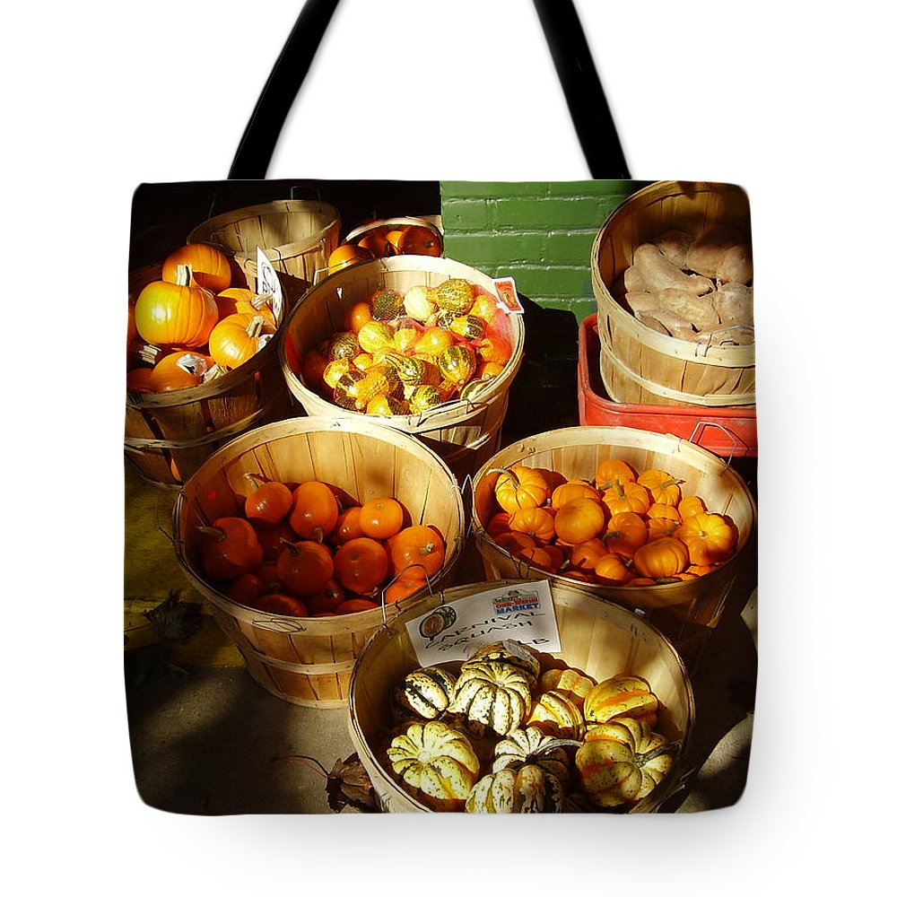 Pumpkins Tote Bag featuring the photograph Pumpkins by Flavia Westerwelle