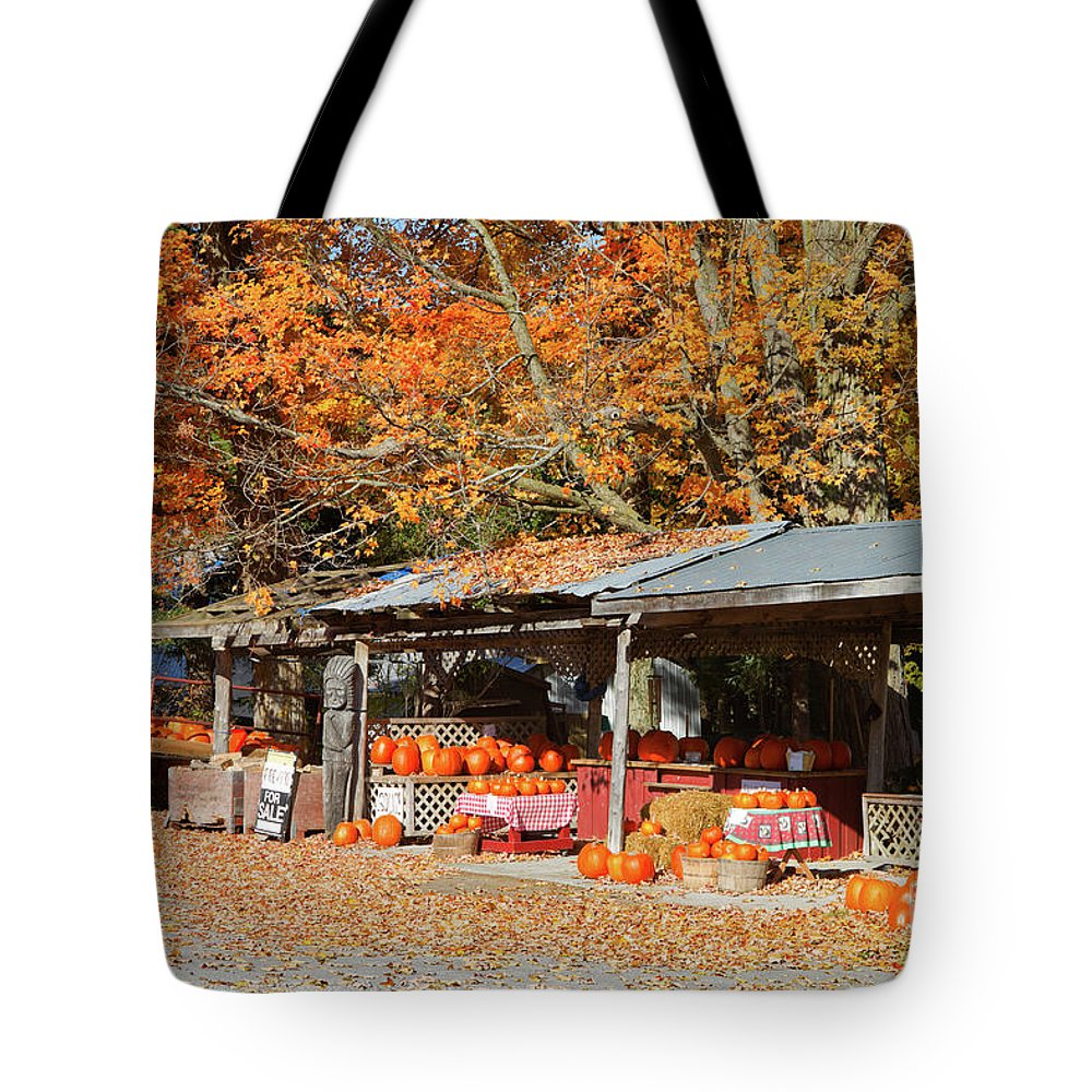 Shed Tote Bag featuring the photograph Pumpkins For Sale by Louise Heusinkveld
