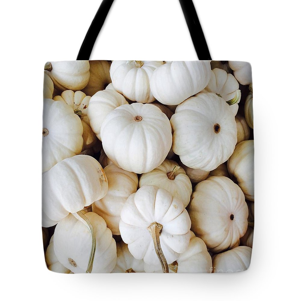 Pumpkins Tote Bag featuring the photograph Pumpkins In White by Onedayoneimage Photography