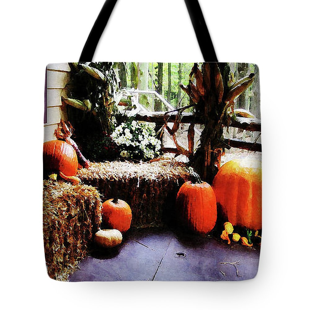 Autumn Tote Bag featuring the photograph Pumpkins On Porch by Susan Savad
