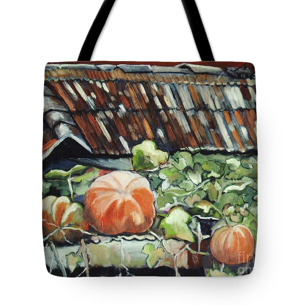 Pumpkin Paintings Tote Bag featuring the painting Pumpkins On Roof by Seon-Jeong Kim