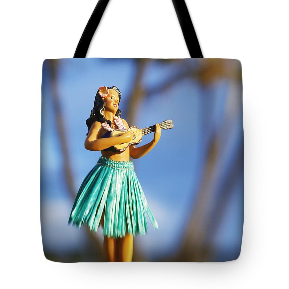 Beach Tote Bag featuring the photograph Punaluu, Hula Doll by Greg Vaughn - Printscapes