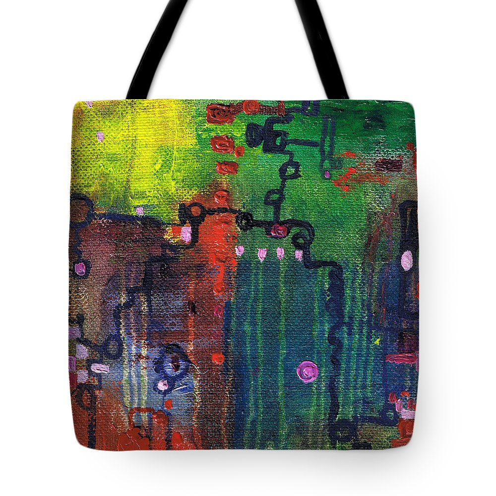 Abstract Tote Bag featuring the painting Punctuated Silences by Regina Valluzzi