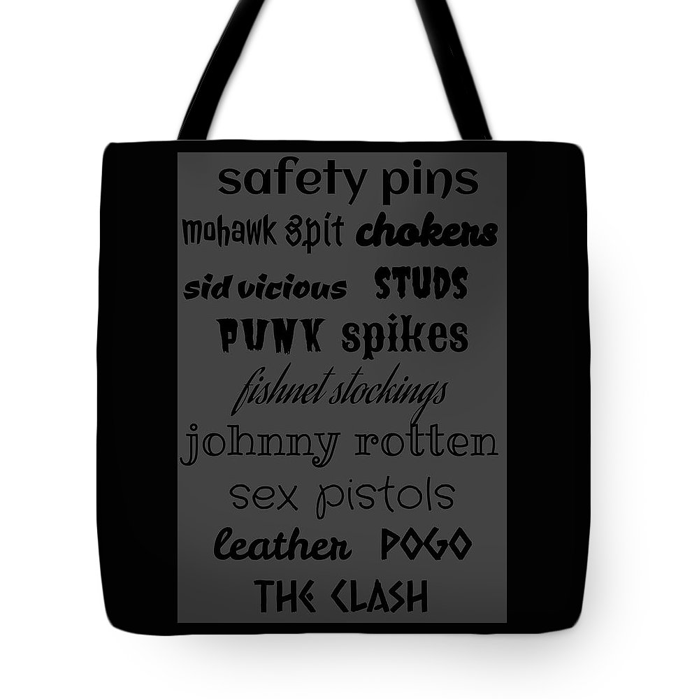 Punk Tote Bag featuring the digital art Punk Stuff Poster 5 by LogCabinCottage