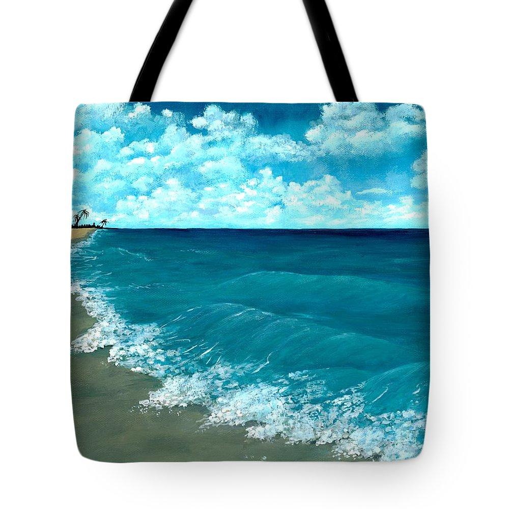 Blue Tote Bag featuring the painting Punta Cana Beach by Anastasiya Malakhova