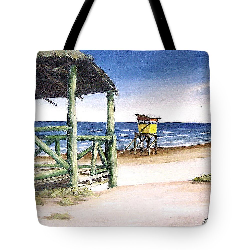 Seascape Beach Landscape Water Ocean Tote Bag featuring the painting Punta Del Diablo S Morning by Natalia Tejera