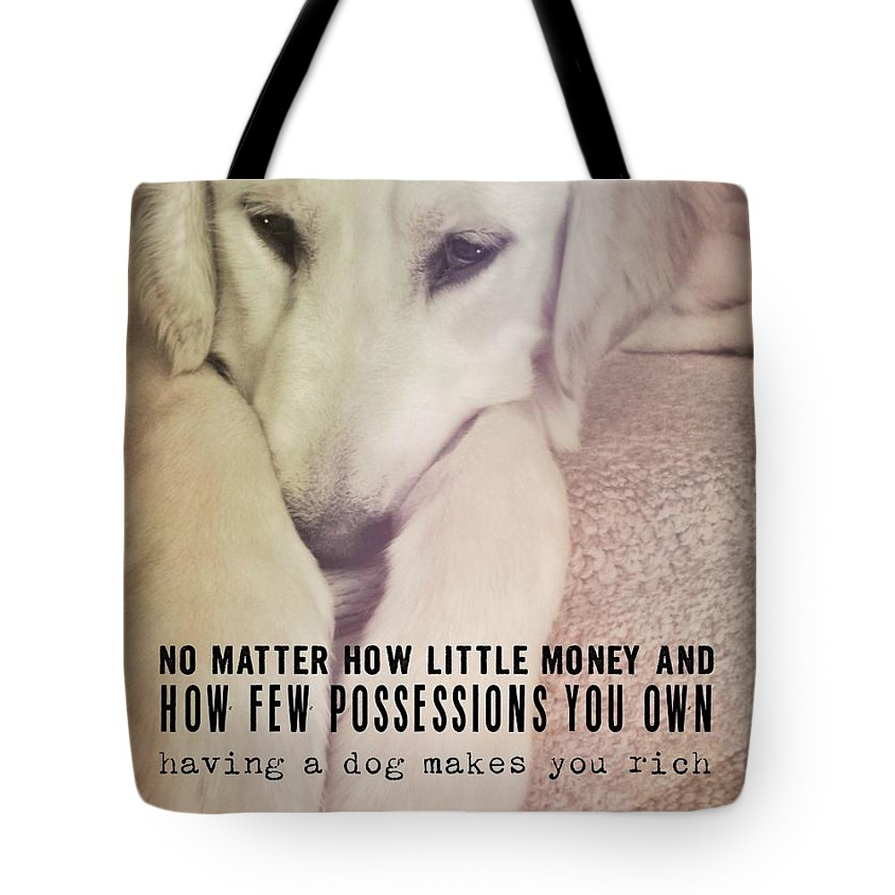 Dog Tote Bag featuring the photograph Puppy Dawg Quote by JAMART Photography