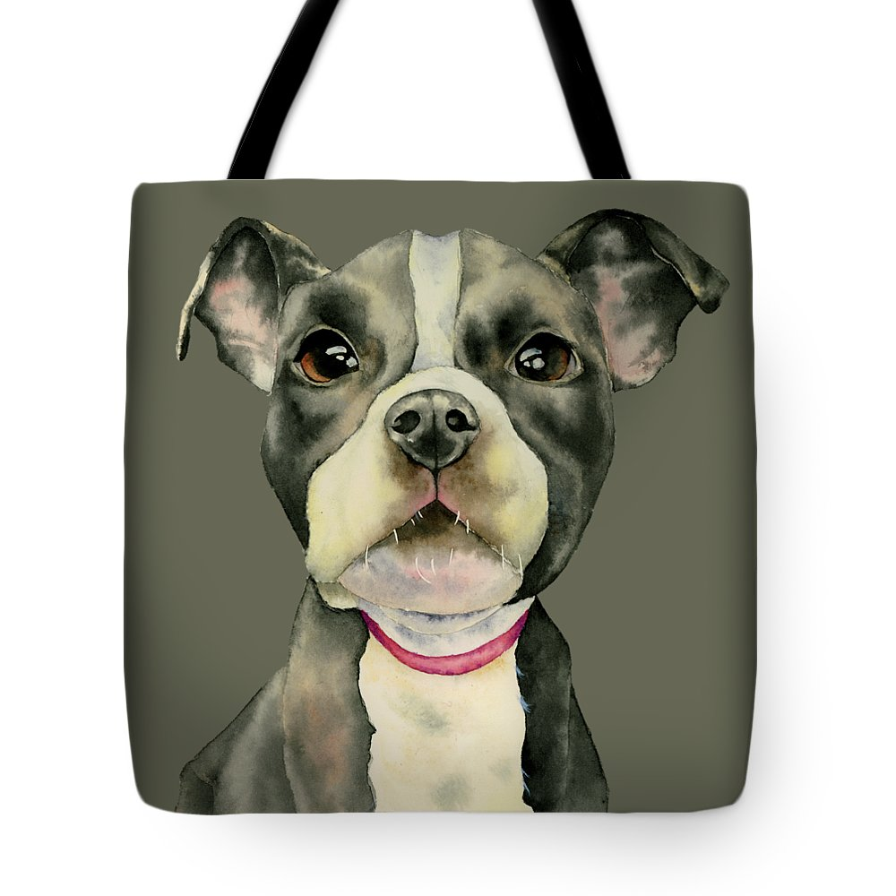 American Pit Bull Terrier Dog Tote Bag featuring the painting Puppy Eyes by NamiBear