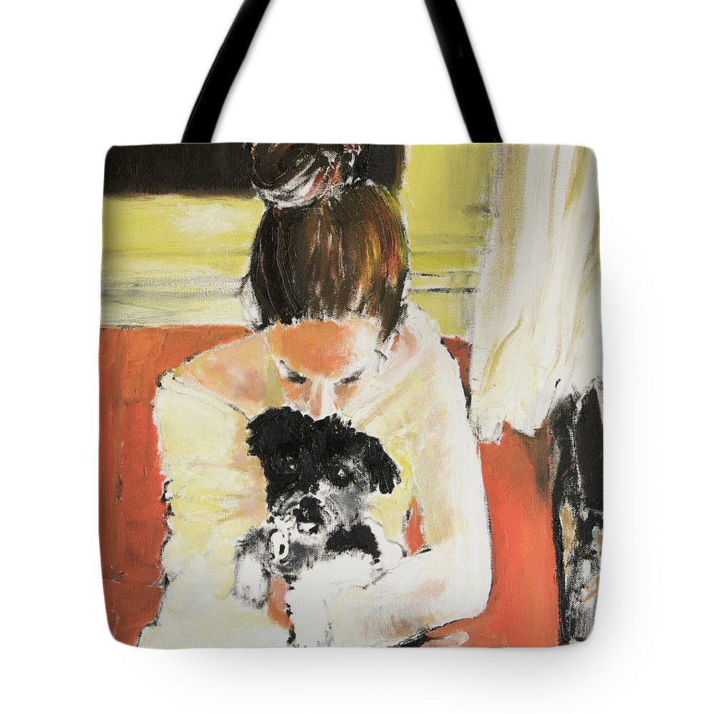 Girl With Dog Tote Bag featuring the painting Puppy Love by Craig Newland