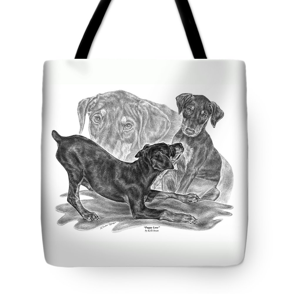 Black And Tan Doberman Tote Bag featuring the drawing Puppy Love - Doberman Pinscher Pup by Kelli Swan