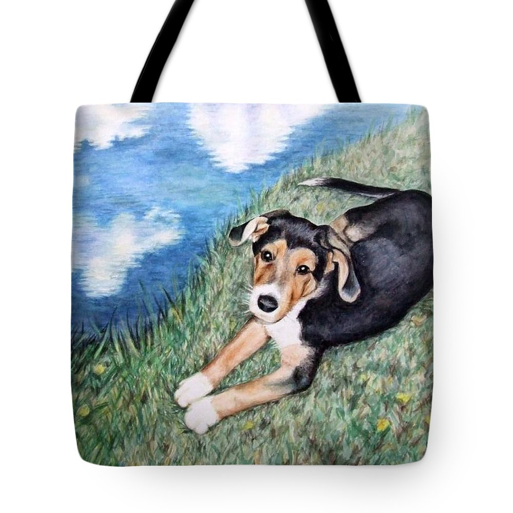 Dog Tote Bag featuring the painting Puppy Max by Nicole Zeug