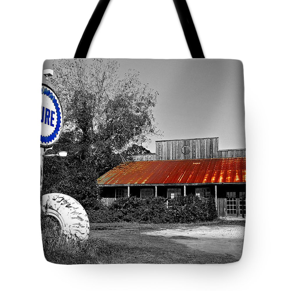 Black Tote Bag featuring the painting Pure Gas Station by Michael Thomas
