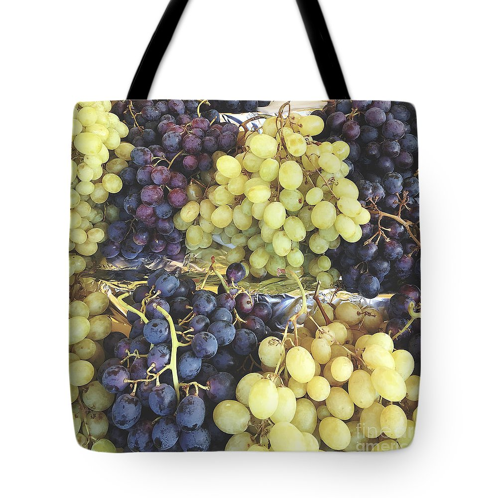 Photography Tote Bag featuring the photograph Purple And Green Grapes by Ivy Ho