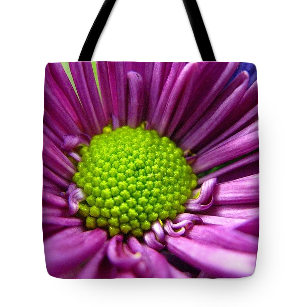 Flower Tote Bag featuring the photograph Purple And Green by Rhonda Barrett