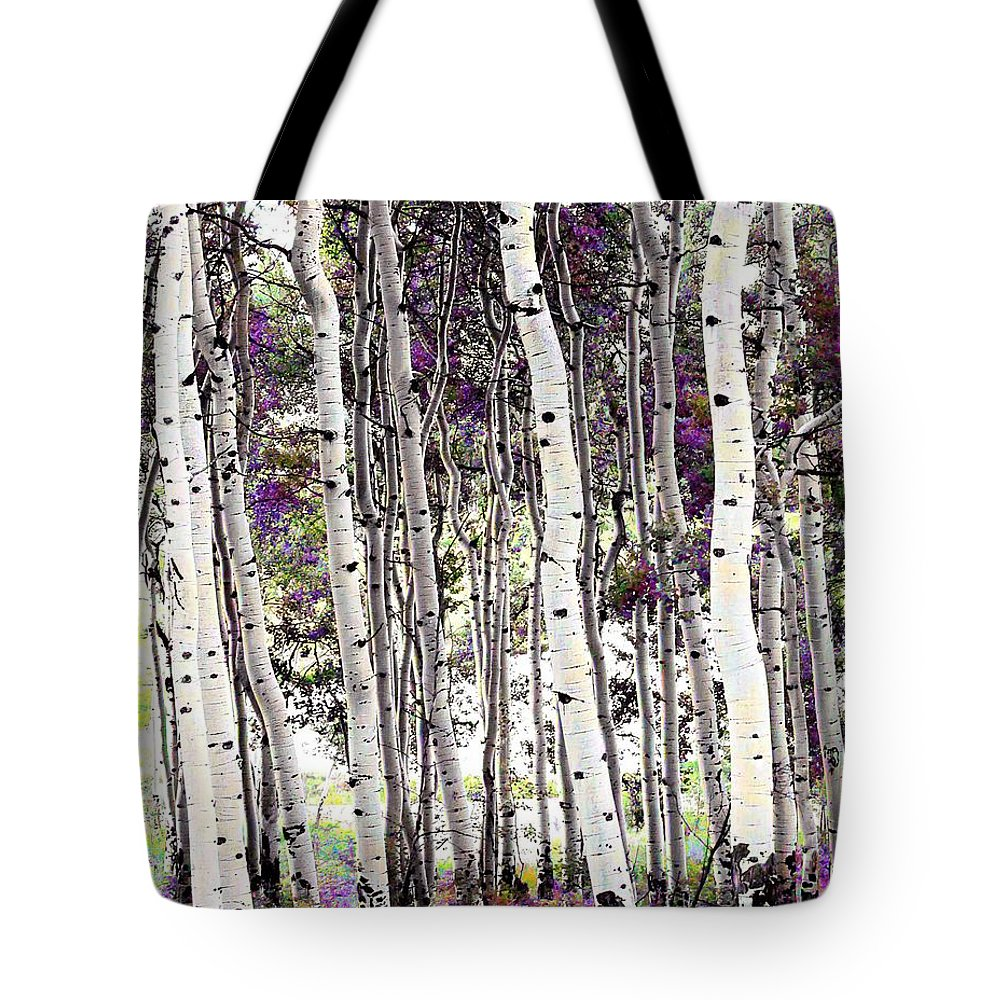 Aspen Trees Tote Bag featuring the photograph Purple Aspens by LeAnne Perry