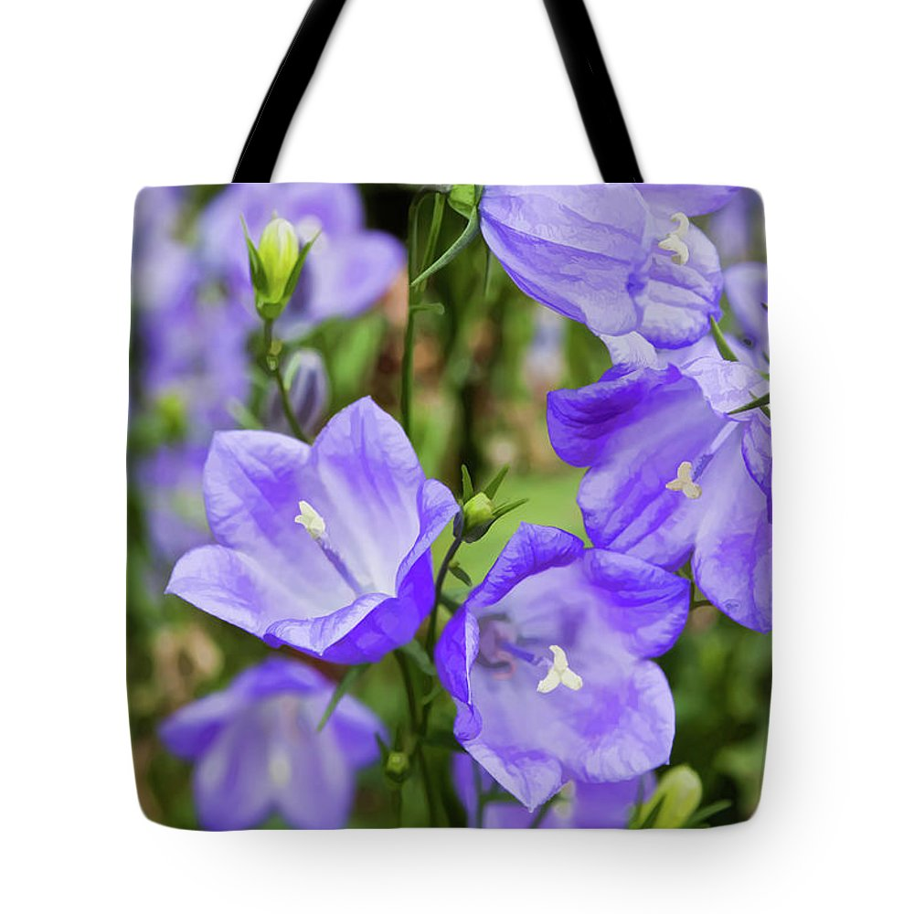 Purple Tote Bag featuring the photograph Purple Bell Flowers by Joann Copeland-Paul