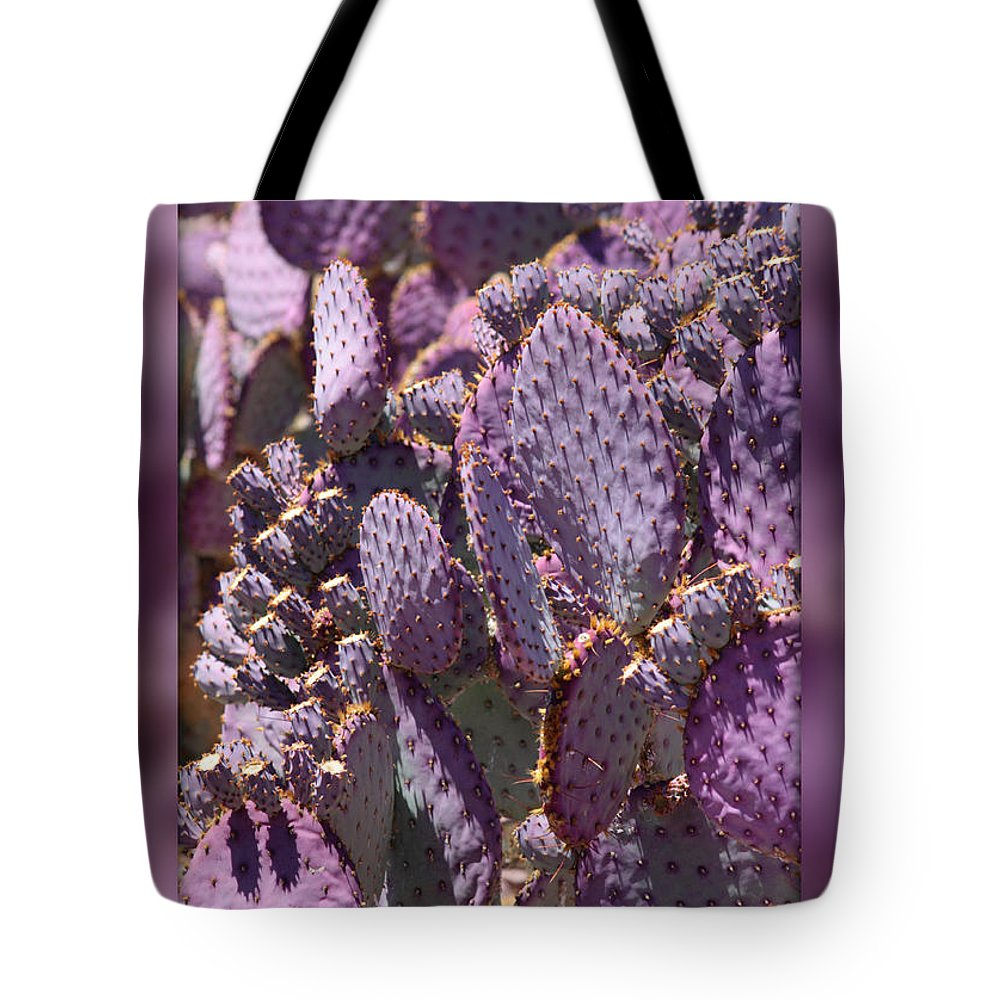 Purple Tote Bag featuring the photograph Purple Cactus Canvas by Carol Groenen