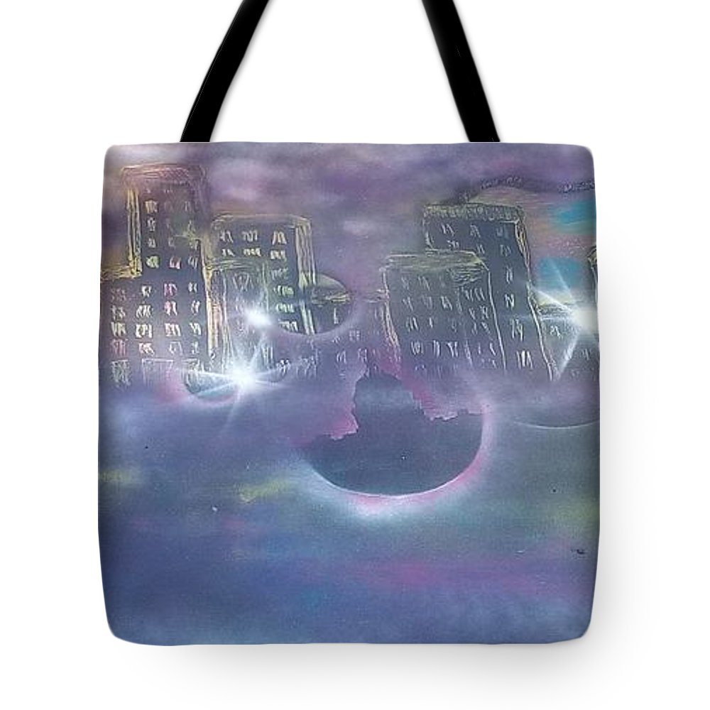 City Tote Bag featuring the painting Purple City by Amanda Lenac