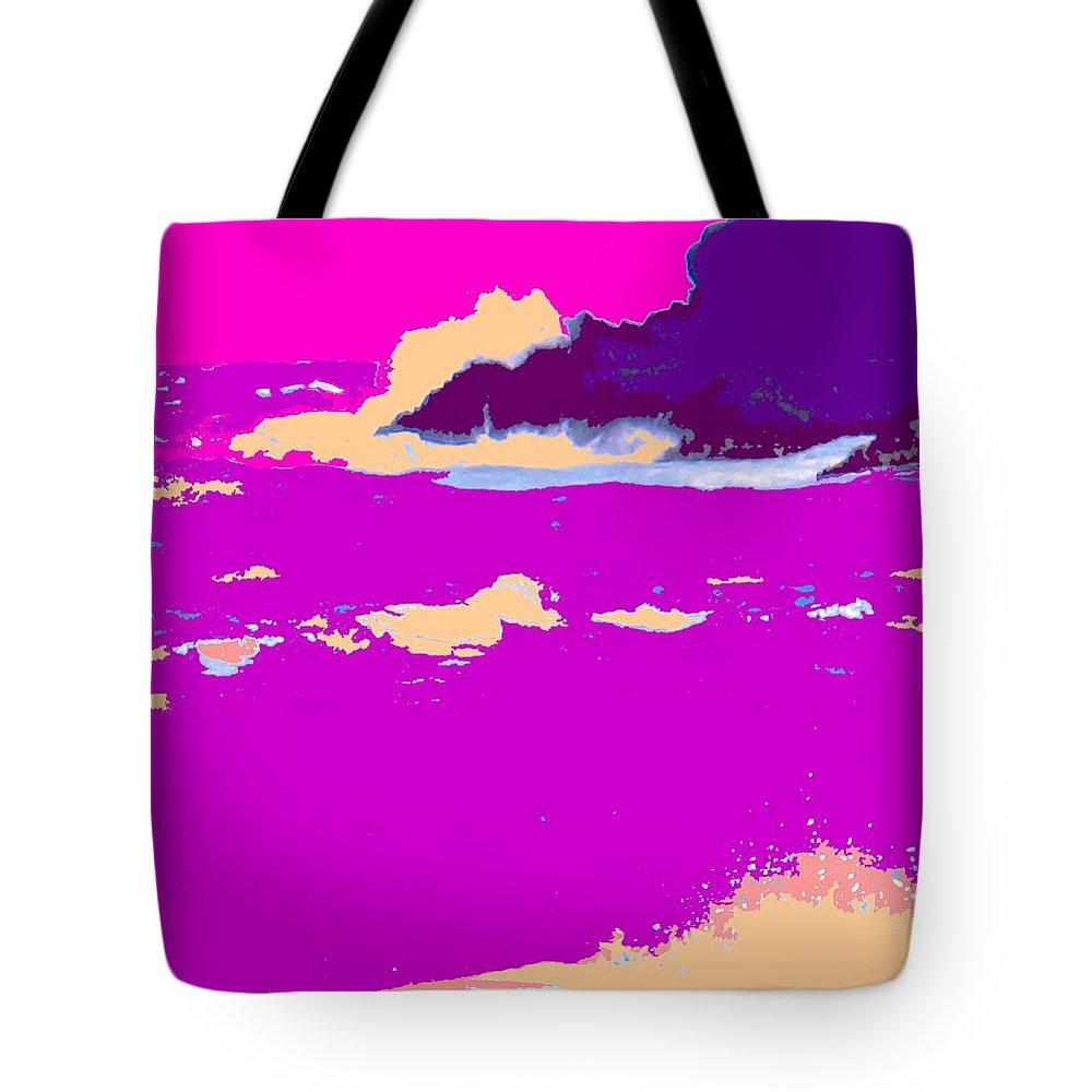 Waves Tote Bag featuring the photograph Purple Crashing Waves by Ian MacDonald